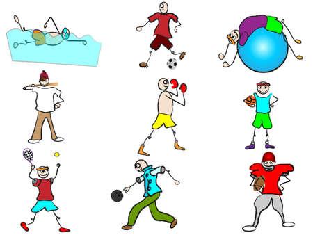 cartoon sport avatars Vector