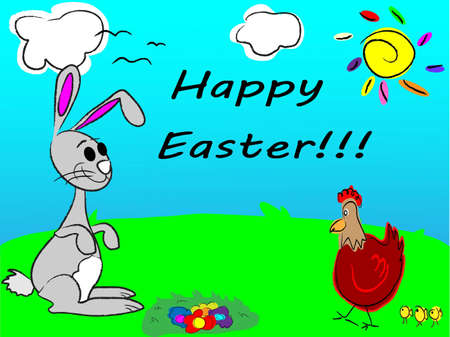 easter card with egg, chicken and rabbit Vector