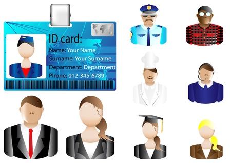 Carte d'identité icône et divers avatars Vecteurs
