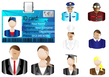 identification card: Identification card icon and various avatars