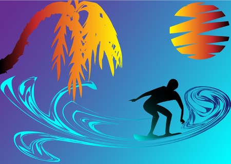 surfer on abstract waves in the summer night Stock Vector - 12887459