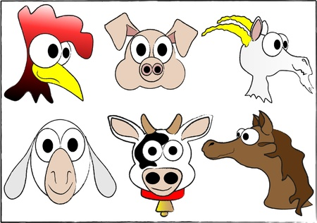 Cute cartoon farm animals Vector