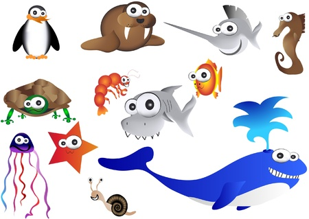 sea animals, illustration of ocean life Vector