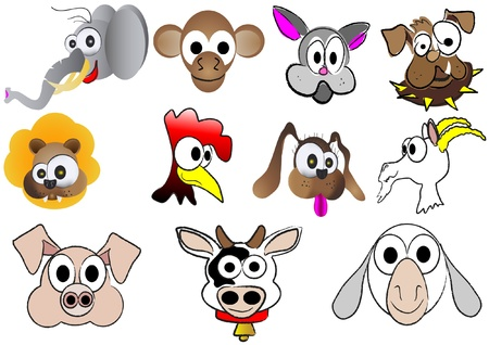 number of animals: Cute cartoon animals Illustration