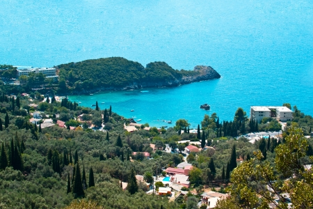 코르푸 섬, 그리스에 Paleokastritsa 걸프 스톡 콘텐츠