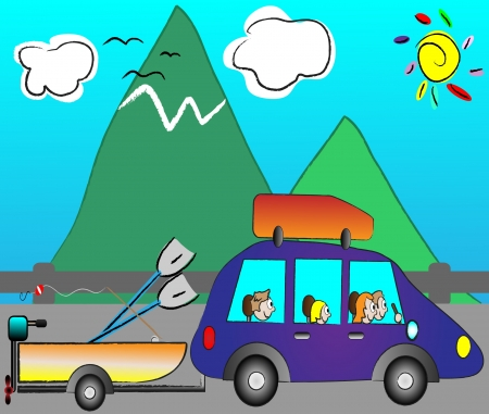 happy family traveling on holiday by funny car Vector