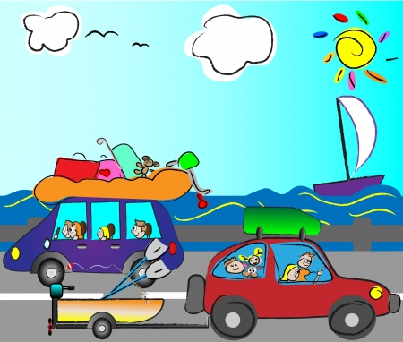 recess: happy family traveling by car