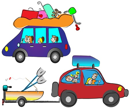 happy family traveling by car Stock Vector - 14398938