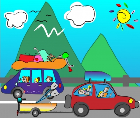 sunny beach: happy family traveling by car