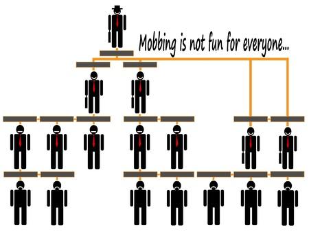 corporate hierarchy: mobbing Organigramma aziendale gerarchia di una compagnia di persone silhouette Vettoriali