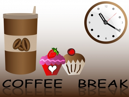 take a break: Coffee in disposable cup with muffin breakfast to go Illustration