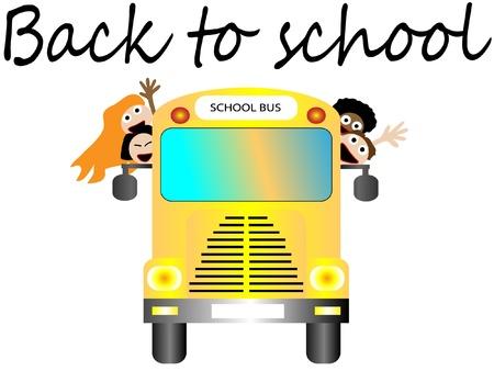 young schoolgirl: School bus with happy children back to school  Illustration