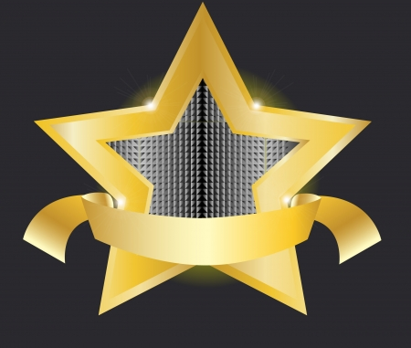 medal ribbon: gold star label vector illustration