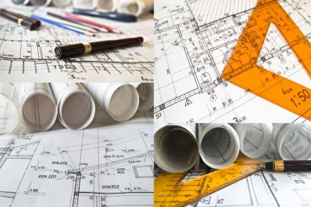コレクションとロールおよび建築プロジェクトのコラージュ