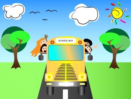 transporte escolar: Autobús escolar con los niños felices de nuevo a la escuela ilustración vectorial