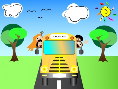 child of school age: School bus with happy children back to school vector illustration