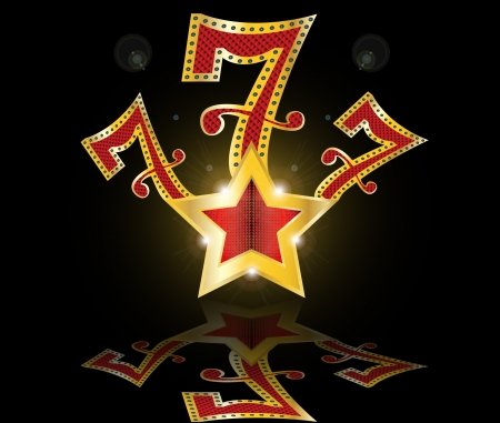 roulette table: lucky seven 777 jackpot Illustration