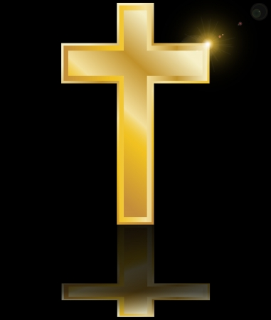 holy cross symbol of the Christian faith on a black background with reflection vector illustration Vector