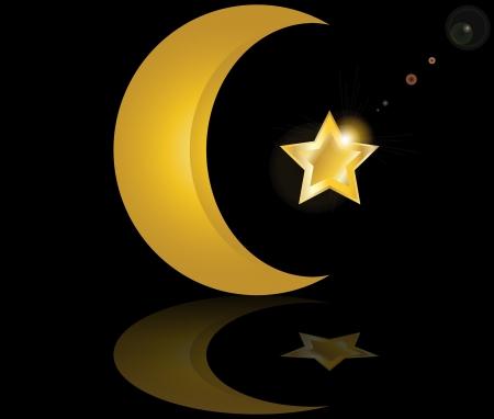 star and crescent: estrella y la media luna musulmana oro en fondo negro con la reflexi�n ilustraci�n vectorial