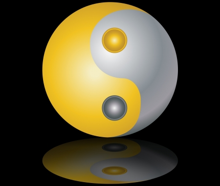yin and yang  gold and silver on black background with reflection vector illustration Vector