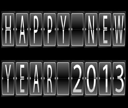 幸せな新しい年 2013年一連の手紙および機械的時刻表ターミナル ベクトル イラスト上の数字