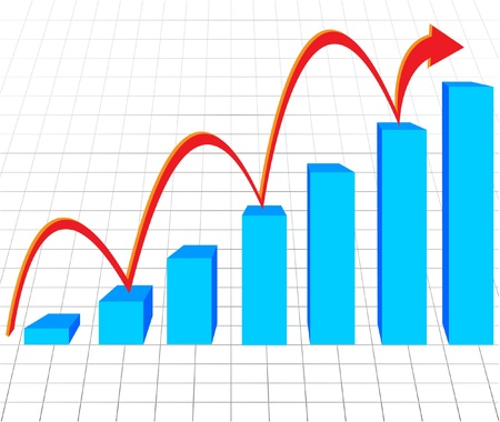 stock market charts: business graph with arrow showing profits and gains illustration business background Illustration