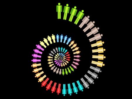 colorful work team concept spiral illustration on black background