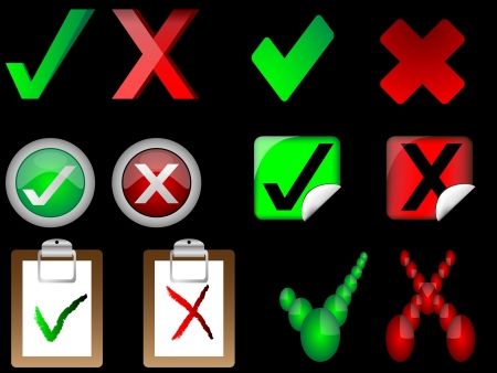 tick and cross signs right and wrong signs illustrator on black background Vector