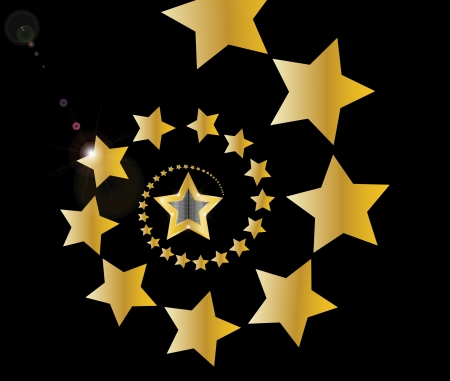 gold shooting stars in spiral on black background  Vector