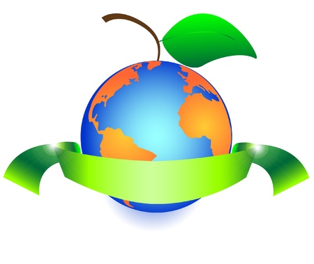 safe world: green fruit like earth with leaves wrapped ribbon  Illustration