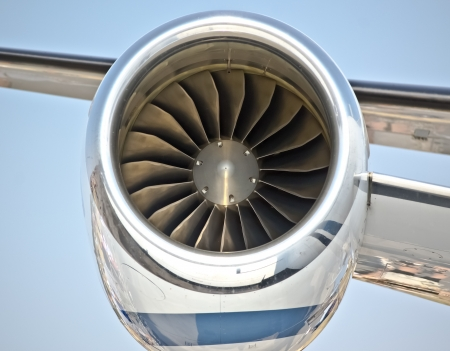 close up of turbo jet of aircraft travel time photo