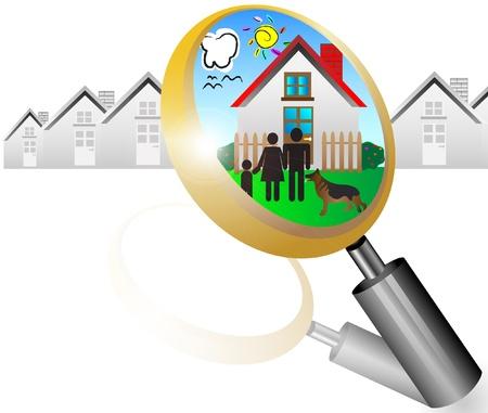 돋보기와 꿈의 집 그림 부동산 개념