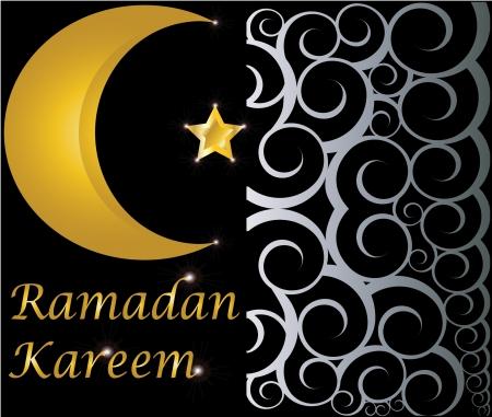 relegion: ramadan kareem muslim gold star and crescent on black background with swirls