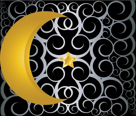muslim gold star and crescent on black background with swirls Vector