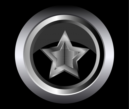 black star metal button  Stock Vector - 15138845