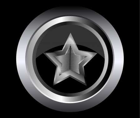 black star metal button Stock Vector - 15138845