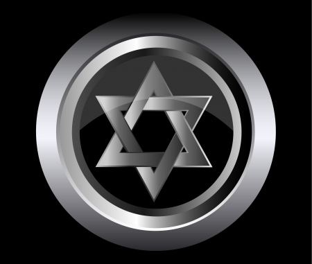 jewish faith: hebrew Jewish Star of magen david in black metal button