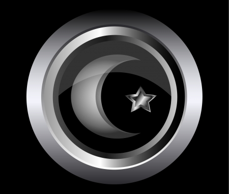 allah: muslim star and crescent on metal button black background  Illustration
