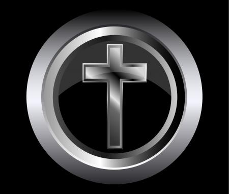 神聖な十字の黒い金属ボタン背景にキリスト教の信仰の象徴  イラスト・ベクター素材