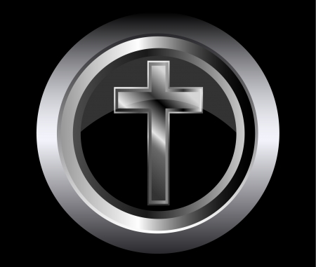 christian faith: holy cross symbol of the Christian faith on a black metal button background