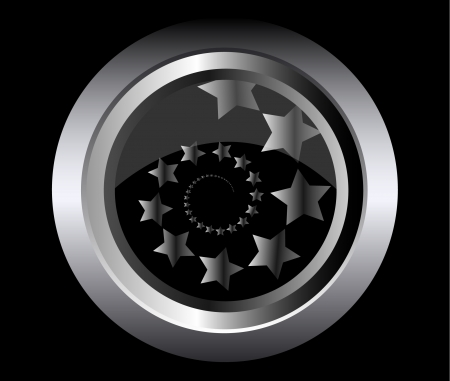 starfield: shooting stars in spiral on metal black button background