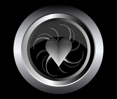 abstract hearth on black metal button  Stock Vector - 15138838