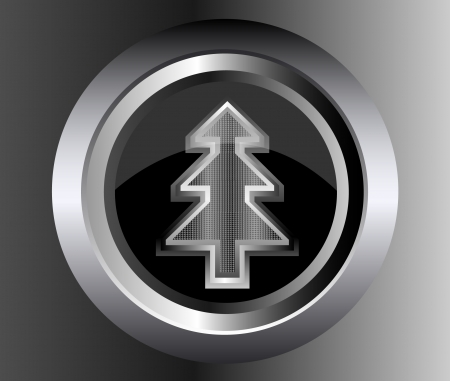 metal Fir Christmas Tree on glossy web button illustration on black background Vector