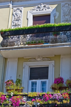 front porch: old balcony with flowers