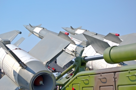 flak: aircraft combat missiles aimed at the sky Stock Photo