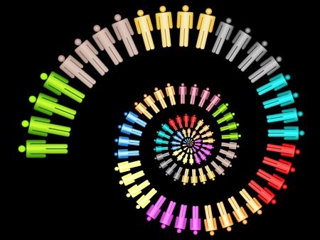 다채로운 비즈니스 작업 팀 개념 나선형 노틸러스 벡터 일러스트 레이 션 검은 배경에