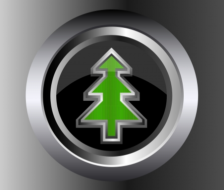 metal Fir Christmas Tree Vector on glossy web button illustration on black background Stock Vector - 15503631