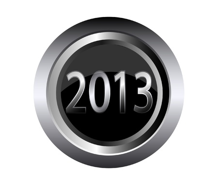 2013 new year black metal button  Stock Vector - 15433508