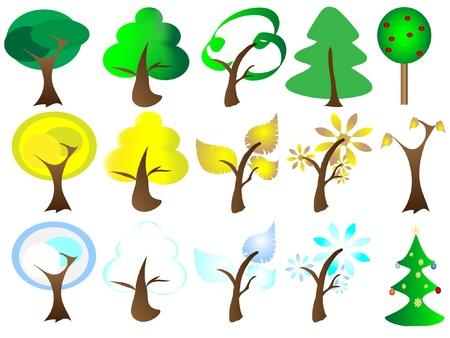 cíclico: Seasons Tree Vectores