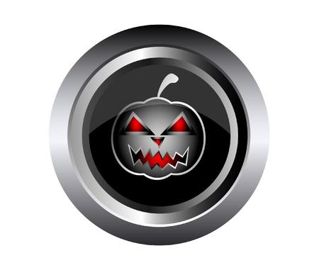 Scary face of halloween pumpkin on black metal Stock Vector - 15433509
